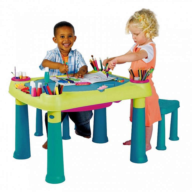 DEOKORK Dětský multifunkční stolek PLAY (modro-zelený)