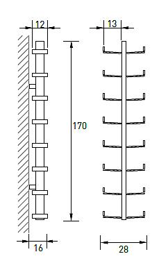 Produktové foto Radius design cologne Pořadač na CD 16 poliček RADIUS DESIGN (CD-BAUM silber WAND 1 GROSS 723C) stříbrný