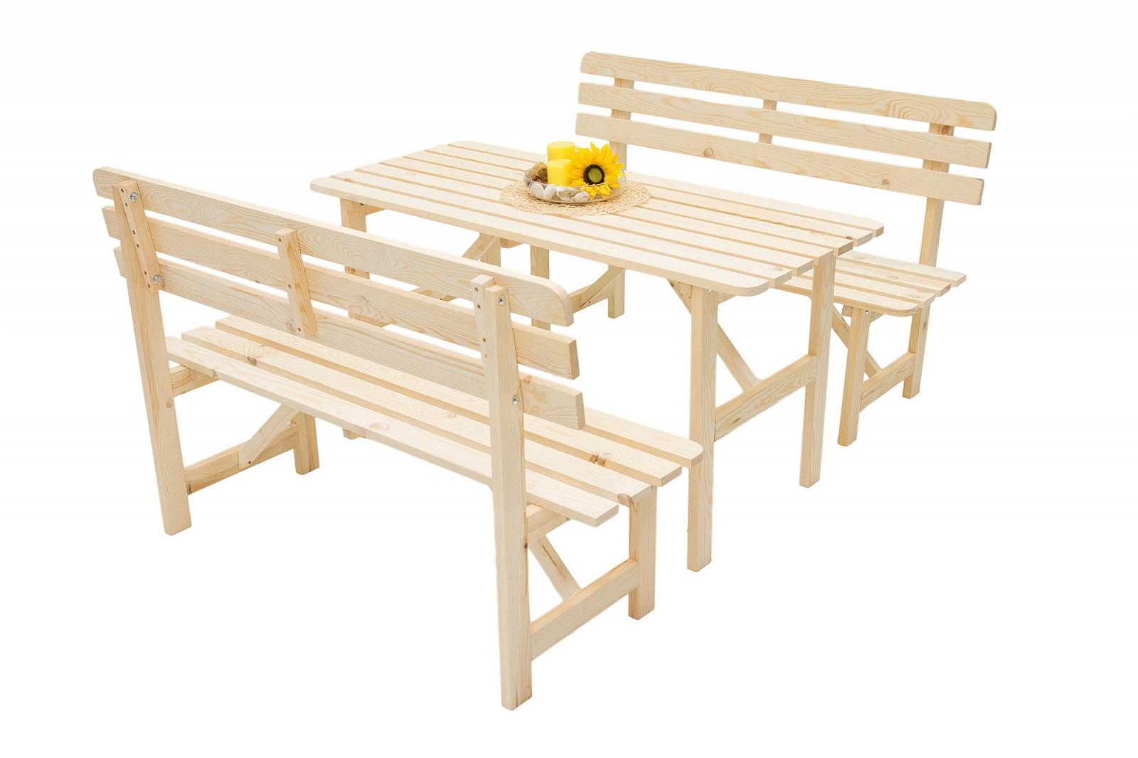 DEOKORK Masivní dřevěná zahradní sestava z borovice 1+2 dřevo 22 mm