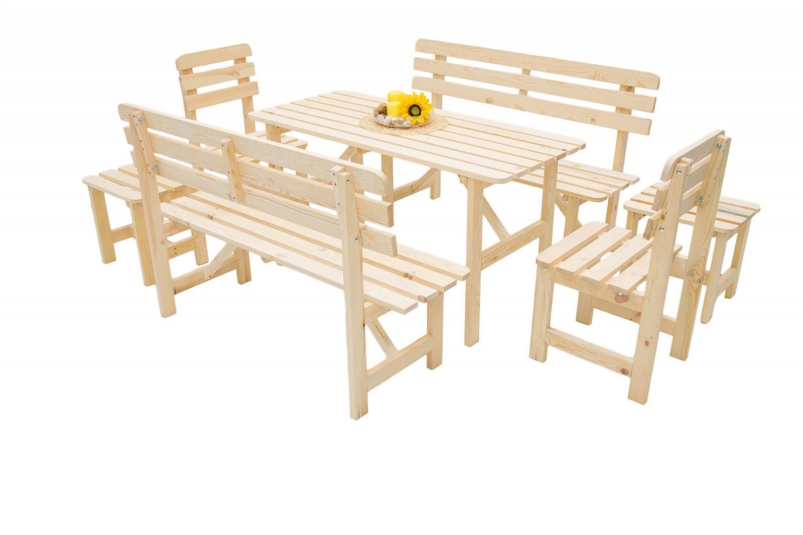 DEOKORK Dřevěná masivní zahradní sestava z borovice 1+6 dřevo 22 mm
