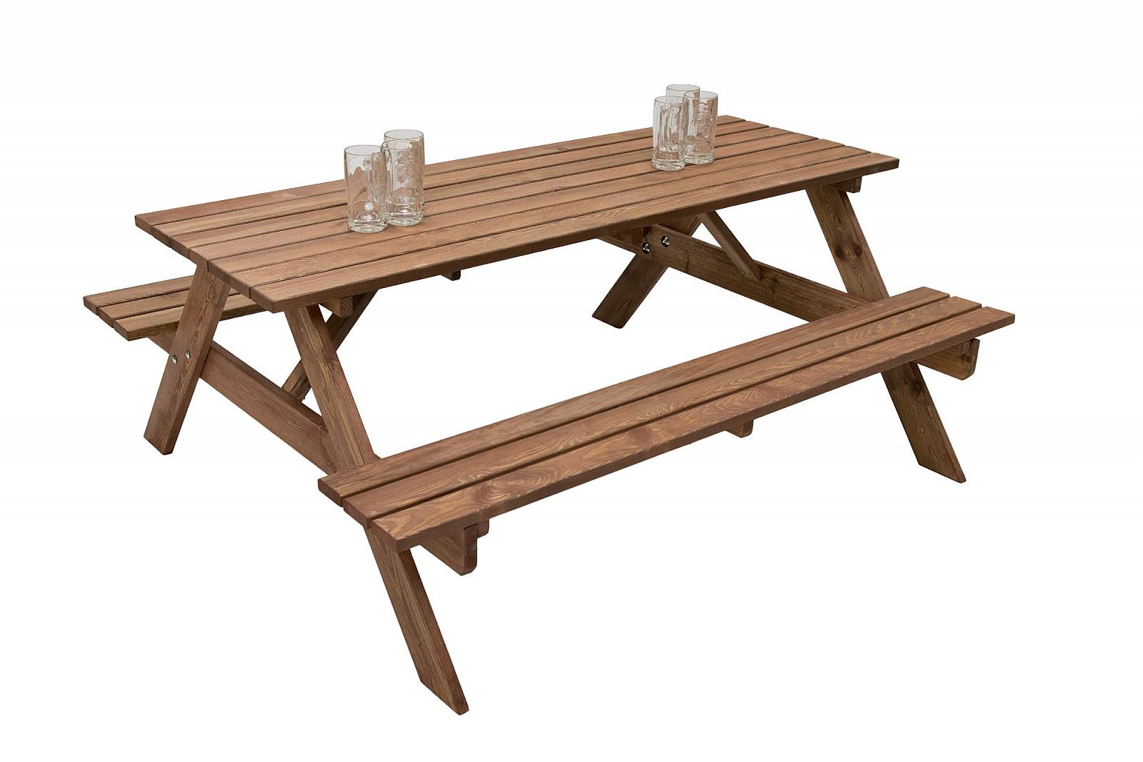 Masivní dřevěný pivní set z borovice 200 cm síla 30 mm (mořený)