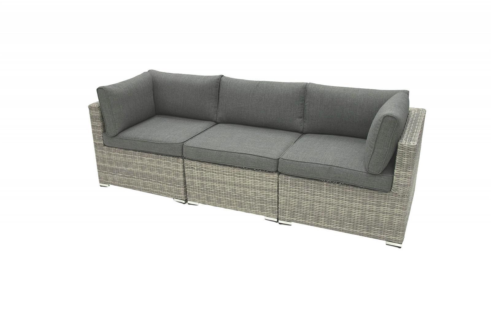 Ratanová 3-místná lavice SEVILLA (šedá)
