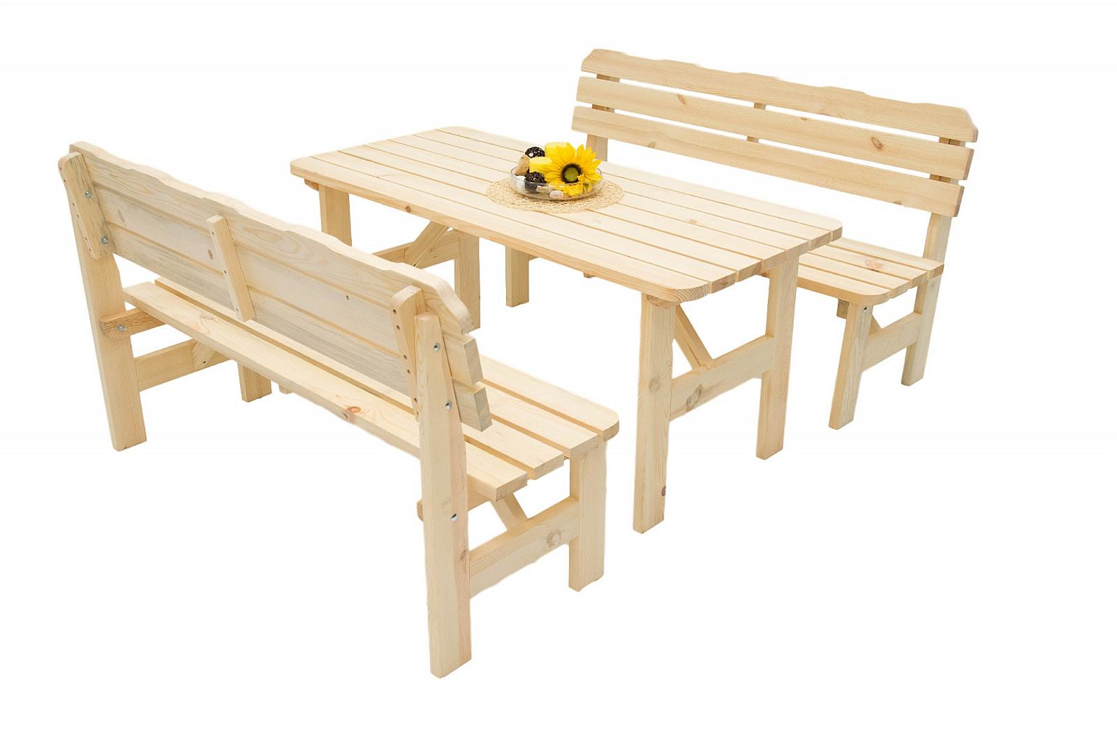 DEOKORK Masivní dřevěná zahradní sestava z borovice 1+2 dřevo 32 mm (220 cm)