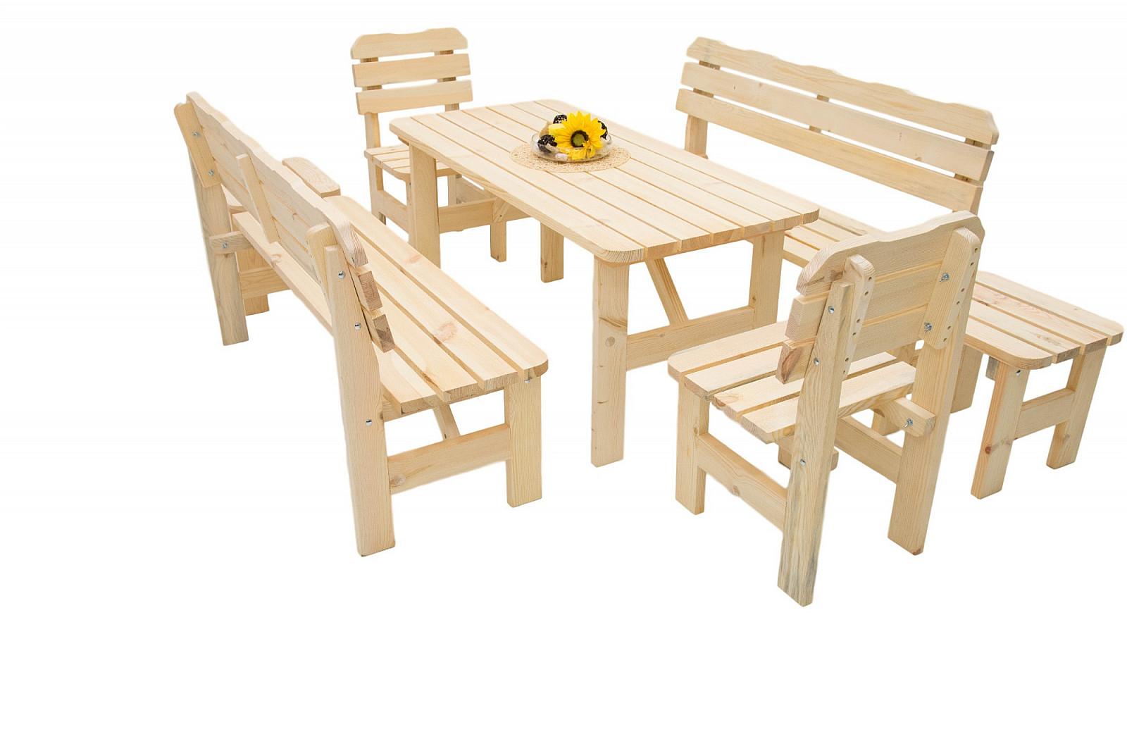 DEOKORK Masivní dřevěná zahradní sestava z borovice 1+6 dřevo 32 mm (180 cm)