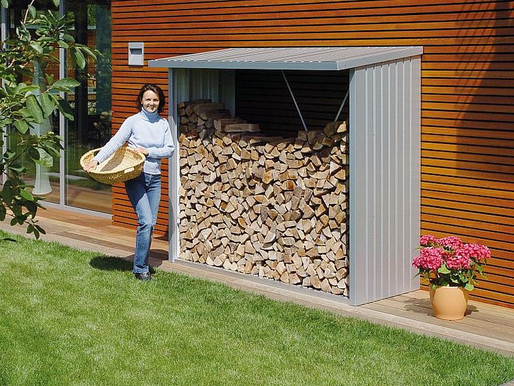 Biohort Víceúčelový sklad krbového dřeva - dřevník WoodStock 157 x 102 (stříbrná metalíza)