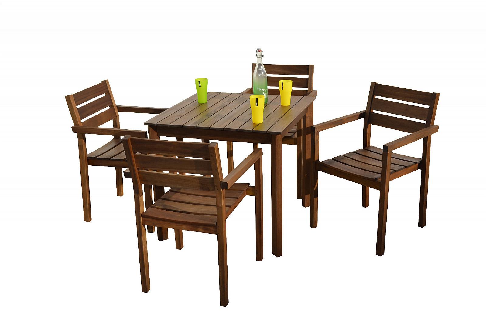 DEOKORK Zahradní nábytek sestava SCOTT 1+4 (hnědá)