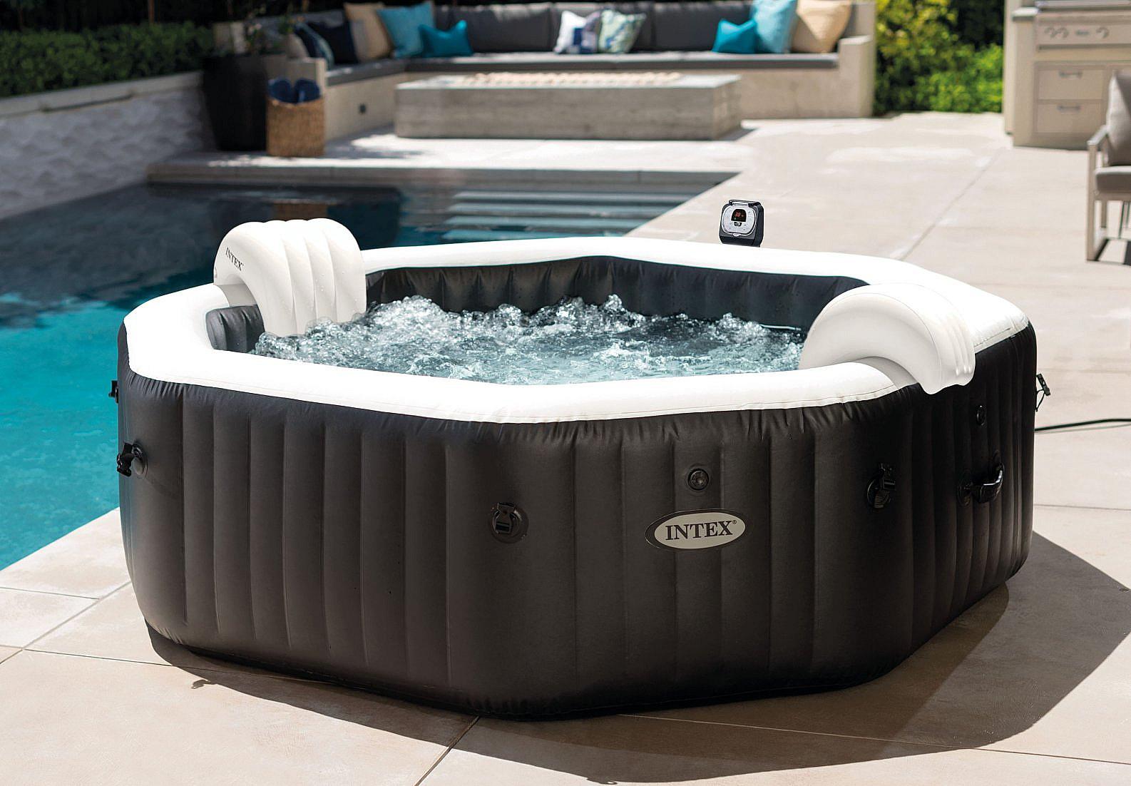 INTEX Nafukovací vířivka Deluxe Octagon systém slané vody pro 6 osob (bublinky+masáž+trysky) 1100L