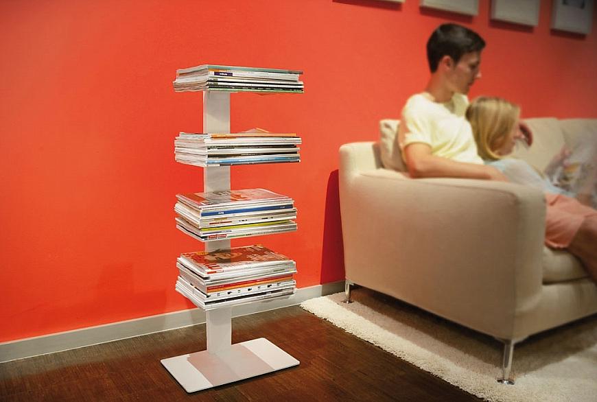 Radius design cologne Knihovna na časopisy 4 poličky RADIUS DESIGN (BOOKSBAUM MAGAZINE STAND SMALL white738B) bílá