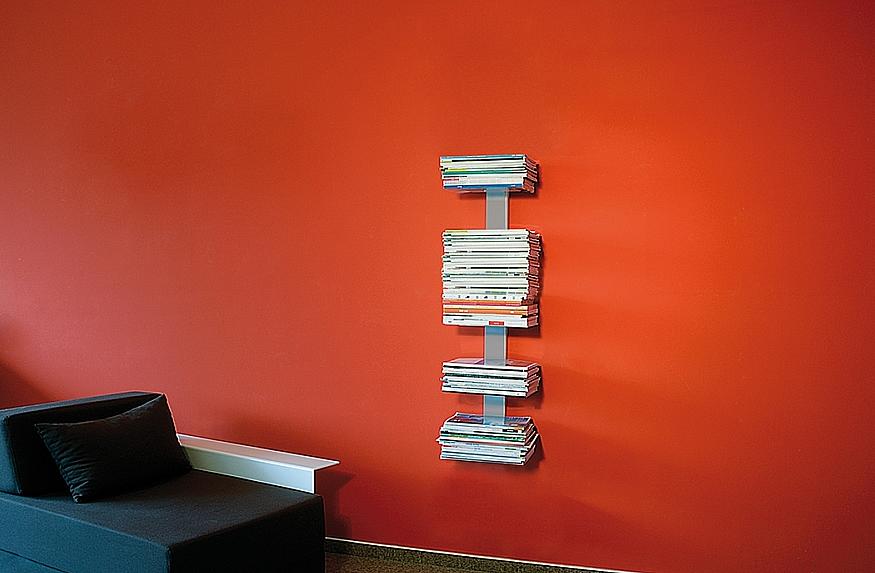 Radius design cologne Knihovna na časopisy 5 poliček RADIUS DESIGN (BOOKSBAUM MAGAZINE WELL SMALL silver 739C) stříbrná