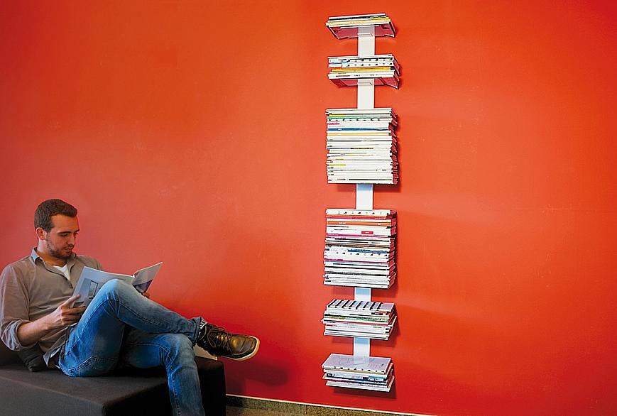 Radius design cologne Knihovna na časopisy 8 poliček RADIUS DESIGN (BOOKSBAUM MAGAZINE WALL BIG white 746B) bílá