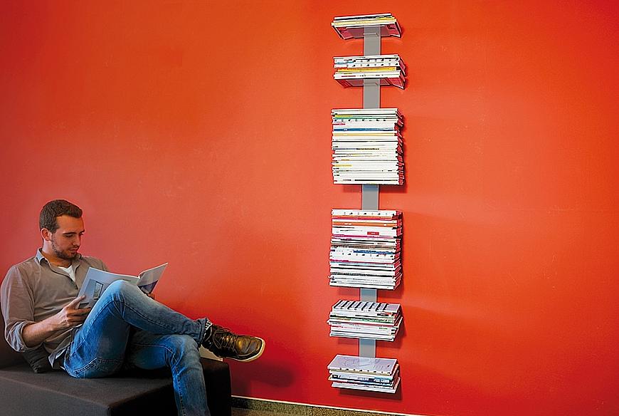 Radius design cologne Knihovna na časopisy 8 poliček RADIUS DESIGN (BOOKSBAUM MAGAZINE WALL BIG silver 746C) stříbrná