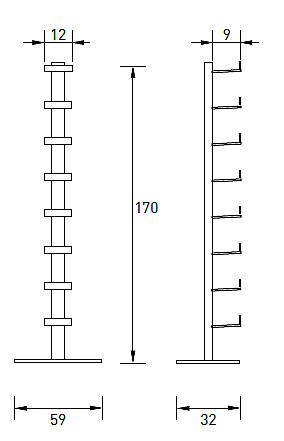 Produktové foto Radius design cologne Pořadač na CD 8 poliček RADIUS DESIGN (CD-BAUM white 2 STAND BIG 736B) bílá