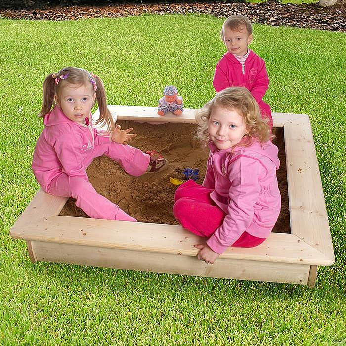 DEOKORK Dětské pískoviště s poklopem + bábovičky ZDARMA (síla dřeva 26 mm)