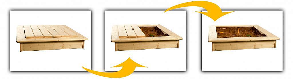 Produktové foto DEOKORK Dětské pískoviště s poklopem + bábovičky ZDARMA (síla dřeva 26 mm)