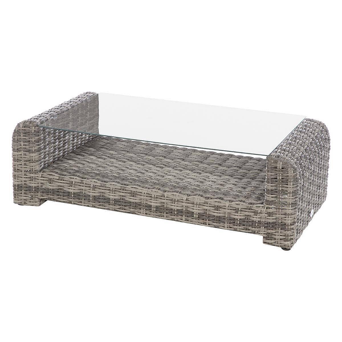 Ratanový konferenční stolek BORNEO 122 x 62 cm (šedá)