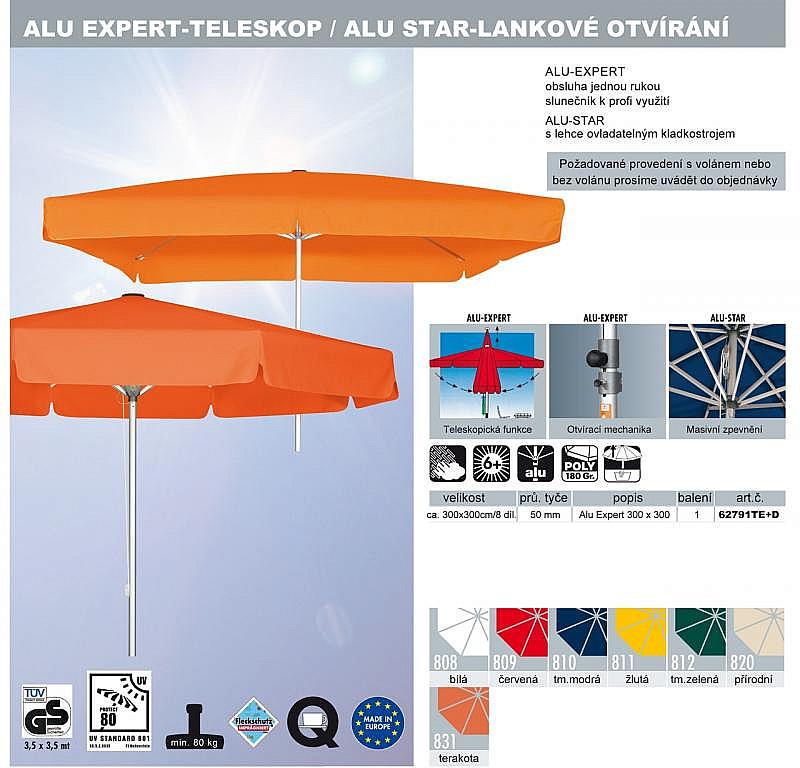 Produktové foto DOPPLER Slunečník Doppler PROFILine ALU EXPERT 300 x 300 809 červená